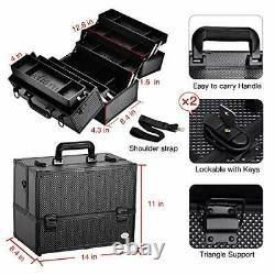 Makeup Train Case Professional Adjustable 6 Trays Cosmetic Cases Makeup Sto