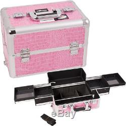 Makeup Train Case Professional Cosmetic Storage Organizer with 4 Sliding Trays