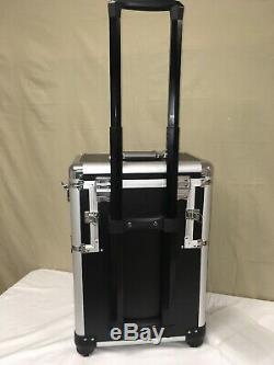 Makeup Train Case, Rolling Trolley Expanding Trays Glass Windows Large Black New