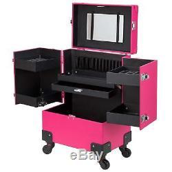 Makeup Train Case Rose Pink Lockable PU Artist Train Removable Rolling Wheels