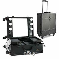 Makeup Train Case with Mirror and LED Lights Hollywood Vanity Set Rolling