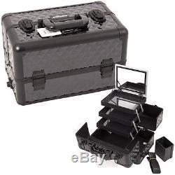 Makeup Train Organizer Case Storage Cosmetic Mirror Holder Professional Sunrise