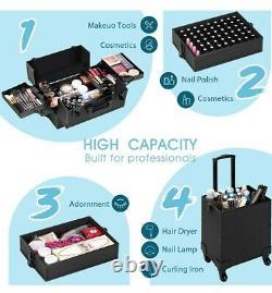 Makeup train case cosmetic organizer