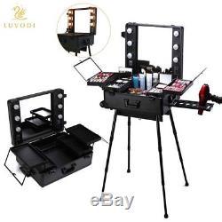Malayas Makeup Trolley Box Cosmetic Train Case 6 Bulbs Lights Beauty Travel
