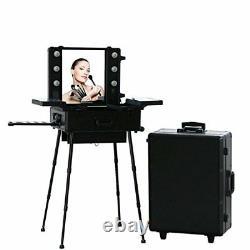 Malayas Makeup Trolley Box Cosmetic Train Case 6 Bulbs Lights Beauty Travel Case