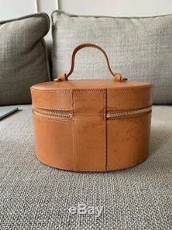 Mansur gavriel Brown Leather Vanity Makeup Train Case Bag