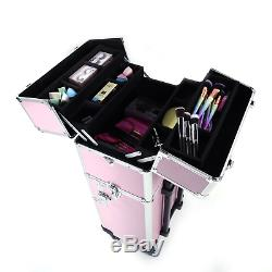 Mefeir 2-in-1 Rolling Makeup Train Case, 4 Wheels Removable+WithExtra Bottom Handle
