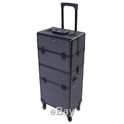 Mefeir 2-in-1 Rolling Makeup Train Case Lift Handle4 Removable Wheels+WithExtra