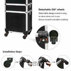 Mefeir 4-In-1 Rolling Makeup Train Case, 4 Removable Wheels WithLift Handle+Lockabl