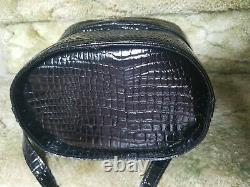 Moda Int'l Black Croc Print Leather Train Case Black Purse Cosmetic Vintage Rare