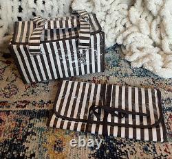 NEW Henri Bendel Cosmetic Bag Set of 2Travel Bags Train Case Brown/White Stripes