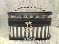 NEW Henri Bendel Cosmetic Bag Trio Set of 3 Travel Train Case Brown White Stripe