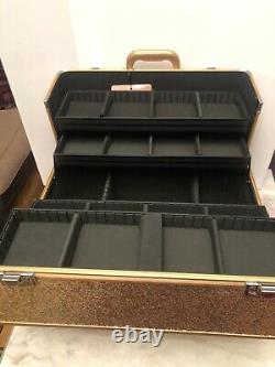 NEW Sephora Large Metallic Rose Gold Train Case Makeup Travel Starlit Case