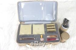 NEW Vtg Estee Lauder Gift Set Tan Train Case with Makeup Lucite Handle Brushes
