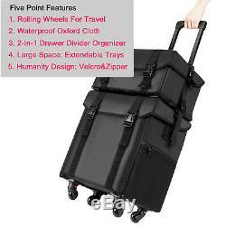 NEW Waterproof Makeup Train Case 2In1 Travel Cosmetic Bag Organizer Box Trolley
