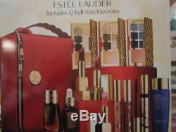 NIB Estee Lauder Blockbuster 2018 Holiday Make Up Gift Set withTrain Case Warm