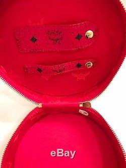 NWOT Authentic MCM Red Round Cosmetic Vanity Train Travel Case Bag NEW