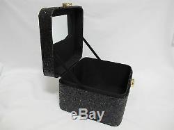 NWOT HTF Victoria's Secret Black Glitter/Mirror Hard Train Case FREE SHIP
