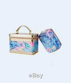 NWT Lilly Pulitzer Train Case and Brush Set in Kaleidoscope Coral