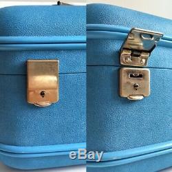 NWT Vintage 60s blue cosmetic travel train case vinyl vanity makeup toiletry