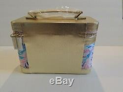 New Lilly Pulitzer Train Case with Matching Brush Set Double Zipper Make Up Case