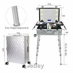 New Professional Rolling Makeup Studio, Beauty Cosmetic Train Case with LED