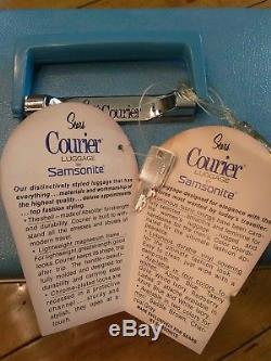 Nos Vintage Sears Courier Cosmetics Train Case Samsonite Hard Shell Aqua Blue