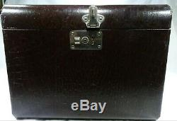 OLD VINTAGE SUITCASE Document Box COSMETICS TRAIN CASE FAUX LEATHER SN