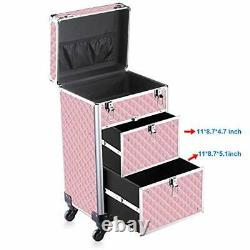OUDMAY Makeup Beauty Train case Professional Artist Rolling Cosmetic Organizer w
