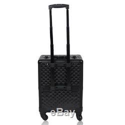 Ogima Professional Rolling Makeup Case Cosmetic Train Box Trolley, Black Plaid