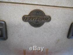 Old Vtg TRAVEL JOY SUITCASE TRAIN CASE MAKE-UP GARMENT PITTSBURGH LEATHER TRIM