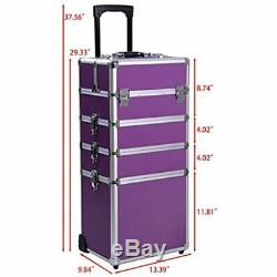 Ollieroo 4 In 1 Aluminum Rolling Cosmetic Makeup Train Cases Trolley Artist Box