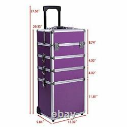 Ollieroo 4 in 1 Aluminum Rolling Cosmetic Makeup Train Cases Trolley Professi