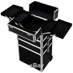Ollieroo 4 in 1 Aluminum Rolling Cosmetic Makeup Train Cases Trolley Professiona