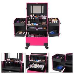 Ollieroo Makeup Train Case Rose-Pink Lockable PU Artist Cosmetic with 4