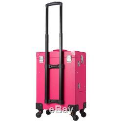 Ollieroo Makeup Train Case Rose-Pink Lockable PU Artist Makeup Cosmetic Train Ca