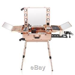 Ovonni LED Lighted Rolling Portable MAKEUP STATION LC004 Training Case PINK