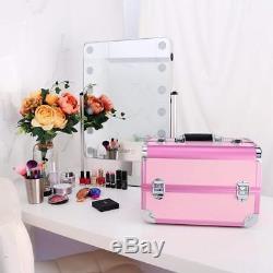 Ovonni Professional Portable Makeup Train Case, Artisit Lockable Aluminum