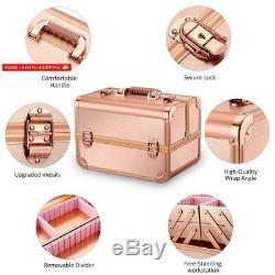Ovonni Professional Portable Makeup Train Case, Artist Lockable Aluminum Cosmeti