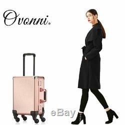 Ovonni Small Led Makeup Train Case, Lighted Rolling Travel Portable Cosmetic Org