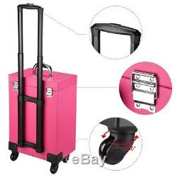 PRE-SALES AW Pro Nail Polish Large Makeup Train Case Rolling Makeup Trolley Cart