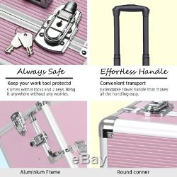 Pink 3 In 1 Makeup Beauty Case Trolley Cosmetics Train Salon Storage Organizer