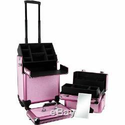 Pink Krystal Pattern 4-Wheels Professional Rolling Aluminum Cosmetic Makeup C