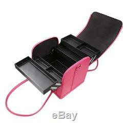 Pink Makeup Train Case 3 Layer Makeup Organizer Bag with Shoulder Strap