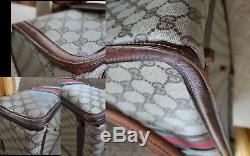 Poor Condition Logo Vintage Gucci Train Case Makeup Beauty Travel Bag Authentic