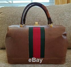 Poor Condition Vintage Gucci Train Case Makeup Beauty Travel Bag Authentic