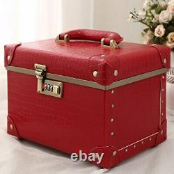 Portable Makeup Train Case Cosmetic Organizer Case Leather 15 Red Alligator