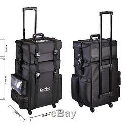 Portable Studio Makeup Cosmetic Drawer Organizer Case Bag Omni-Directional Wheel