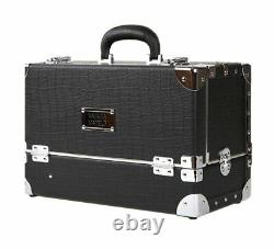 Premium Make Up Box Black Cosmetic Box Professional Makeup Train Case Size Large
