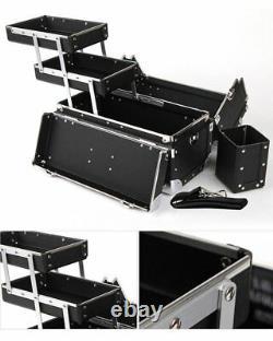 Premium Make Up Box Black Cosmetic Box Professional Makeup Train Case Size Large